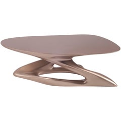 Contemporary Small Coffee Table Lacquer Finish Diagonal Leg Oval Shaped