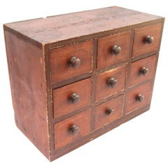 19th Century Red Painted Vermont Apothecary or Spice Chest