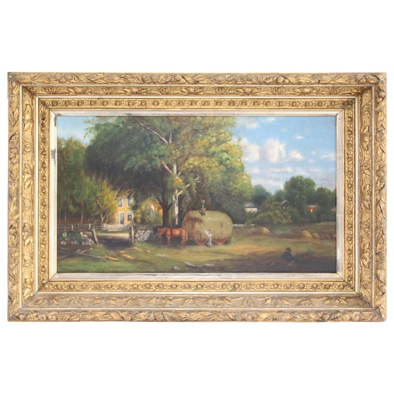 19th Century Oil on Canvas American Farm Scene by Charles Drake