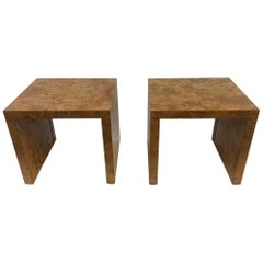 Pair of Burl Wood Side Tables or Nightstands by Milo Baughman