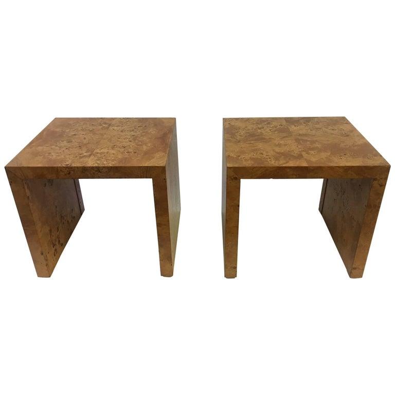 Pair of Burl Wood Side Tables or Nightstands by Milo Baughman