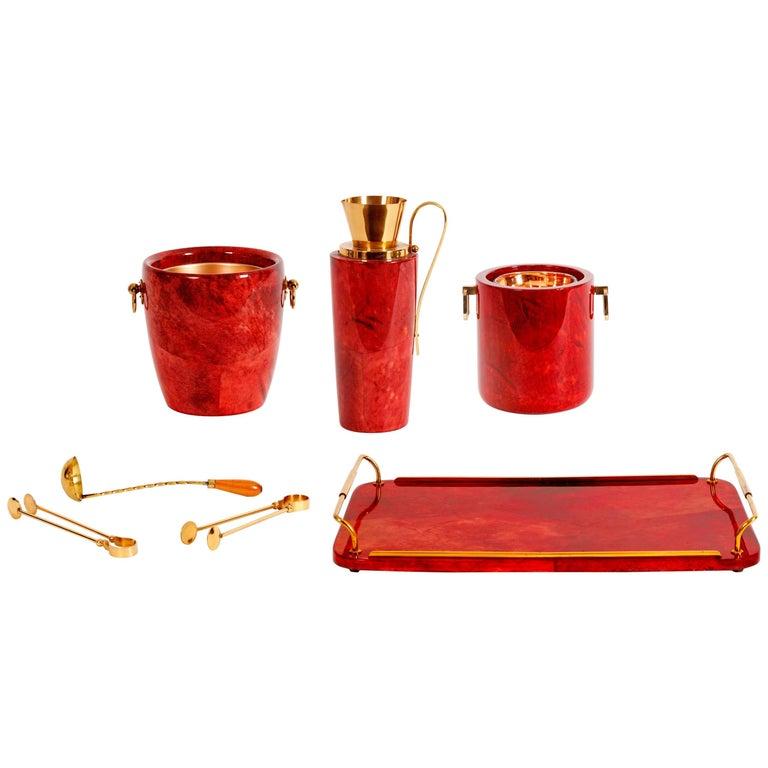 Aldo Tura Lacquered Parchment Barware Set, Italy, 1950s