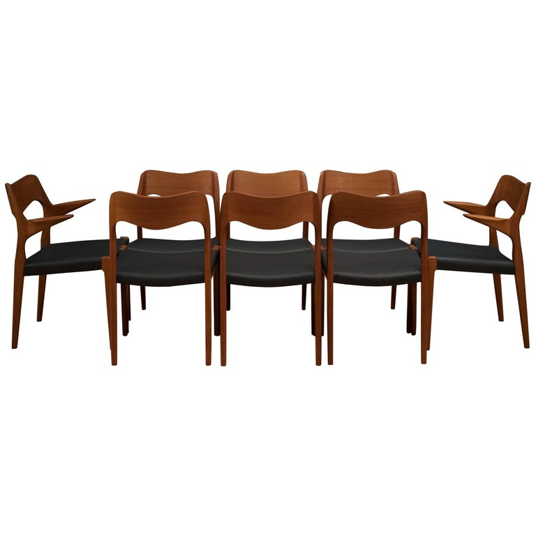 Set of Eight Danish Teak Niels Moller Dining Chairs For Sale