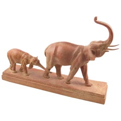 Demetre Chiparus 1930s Art Deco Terracotta Sculpture of Elephant and Baby