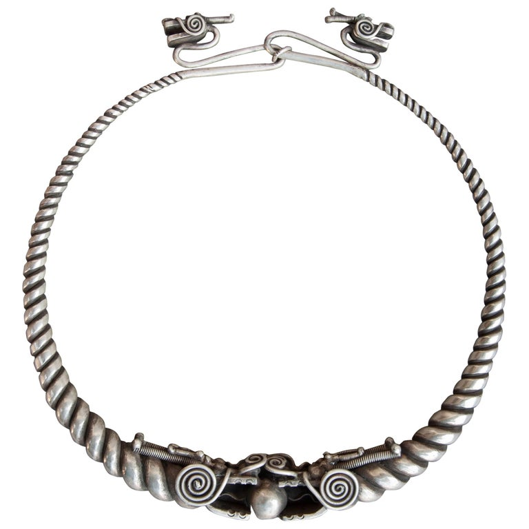 Hill Tribe Hand Worked Metal Torque Necklace from Guizhou, Mid-20th Century
