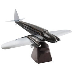 Art Deco Wooden and Chrome Airplane Aviation Model