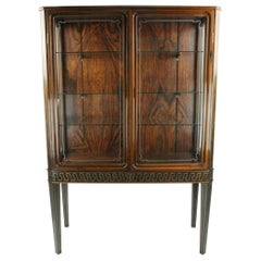 Very Rare 1940s European Rosewood and Pewter Inlaid Vitrine