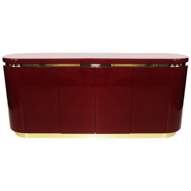 Cranberry Lacquer and Brass Credenza by Mastercraft