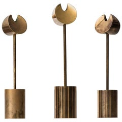 Candlesticks in Brass Designed by Pierre Forsell Produced by Skultuna in Sweden