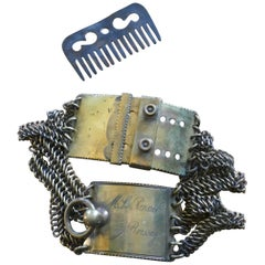 18th Century French Bronze Hunting Dog Collar and Comb