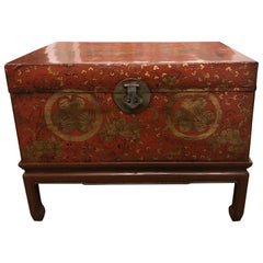 Antique Chinese Red Leather Trunk