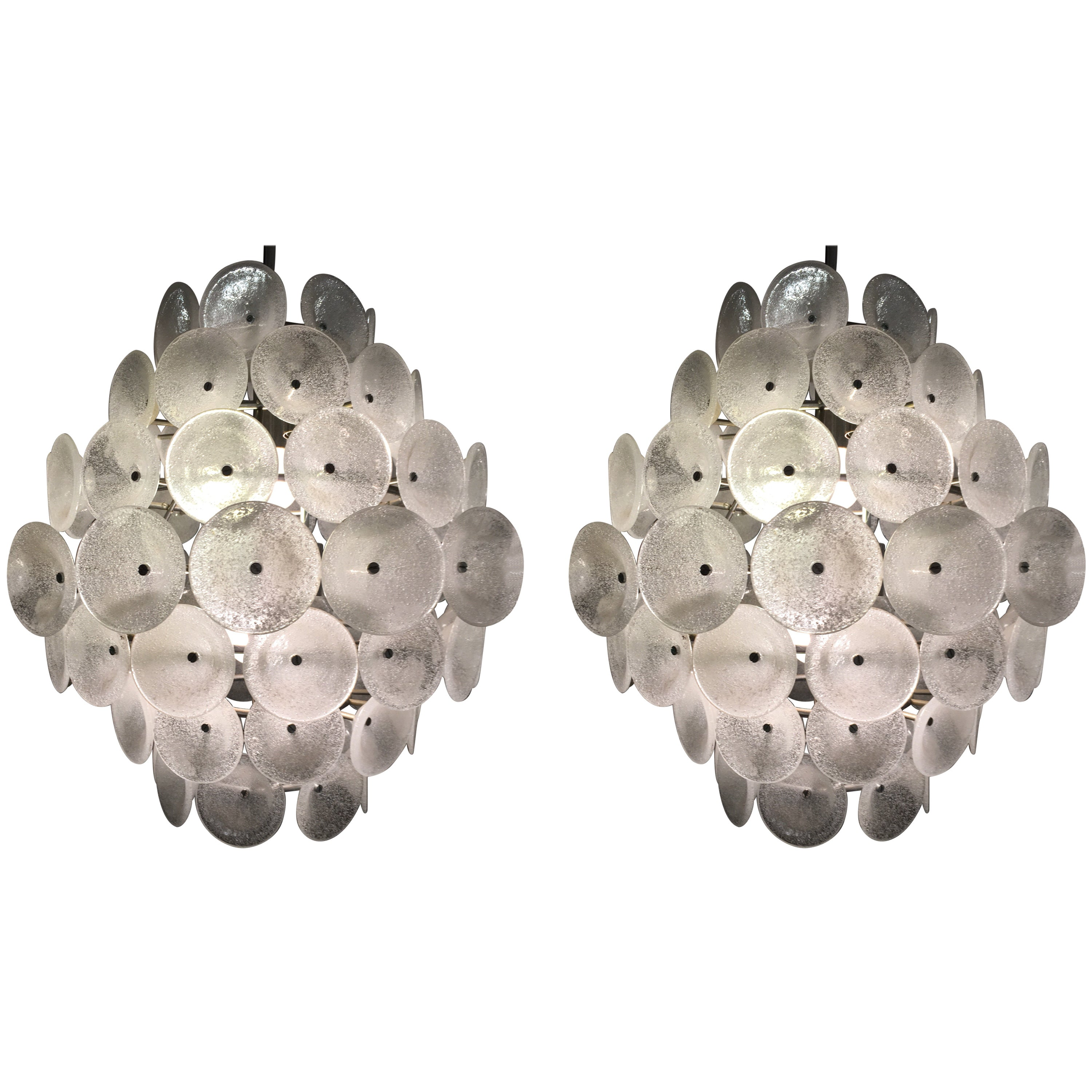 Set of Two Large Murano Discs Chandeliers, 1960s,Italy