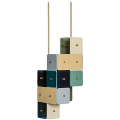 Contemporary Chandelier TERN in Plexiglass and Brass