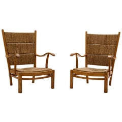 Bas Van Pelt High Back Armchairs in Oak and Straw, the Netherlands, 1940s