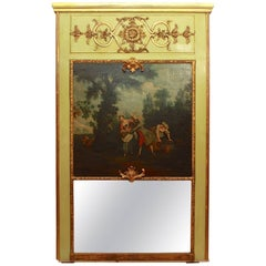 18th Century Trumeau Mirror with Painting