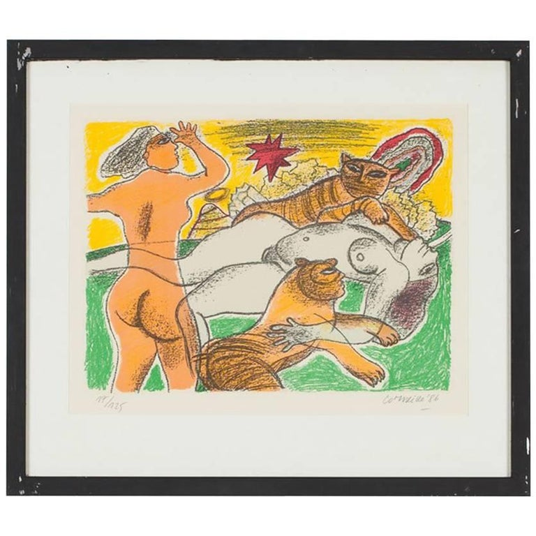 Signed Limited Edition Silkscreen Print 'Woman with Two Tigers' by Corneille