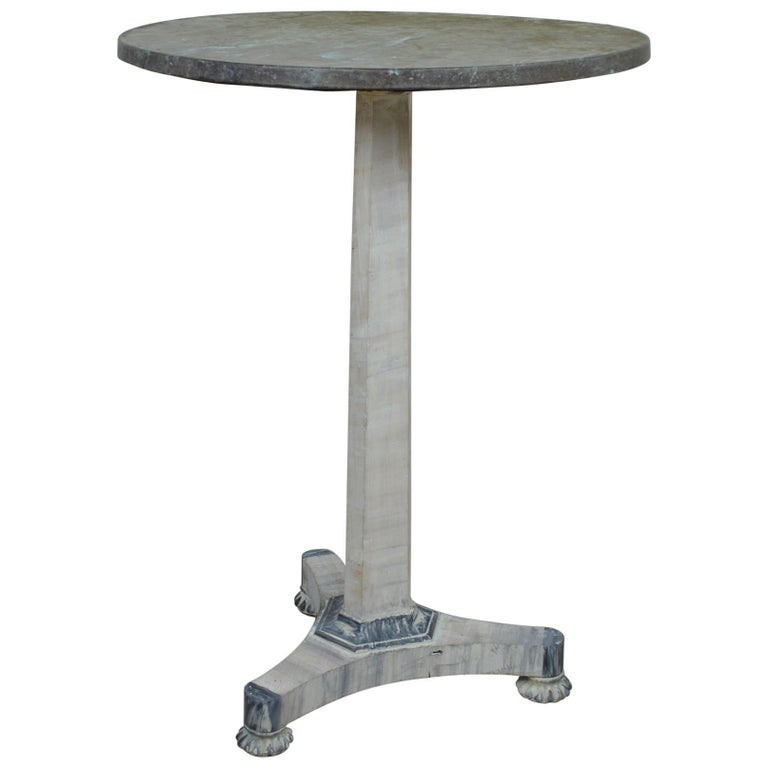 Small Antique Regency Painted Side Table with a Faux Marble Top