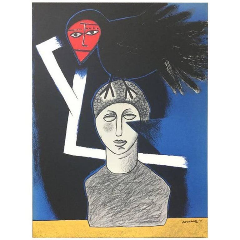 Signed, Dated, and Numbered Silkscreen Print by Corneille 'Statue et L'oiseau'