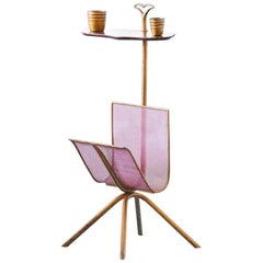 Italian Brass side table with  Magazine Holder  , 1950's