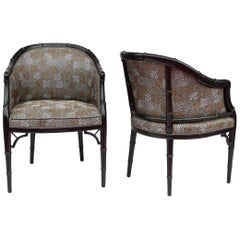 Pair of Small Faux Bambou Black Lacquer Armchairs