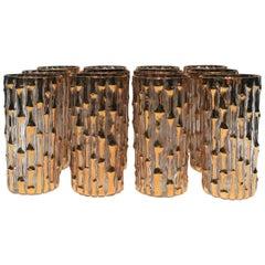 Vintage Set of Twelve 24-Karat Gold 'Bamboo' Highball Glasses, circa 1960s