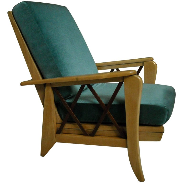 Mid-Century Modern Extendable Armchair Two-Tone Birch Blue Velvet Cushions