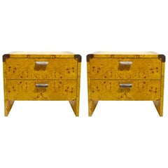 Pair of Burl Nightstands by Pace