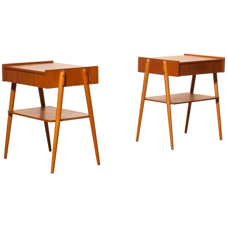 1960s, a Pair of Teak Bedside Tables 1