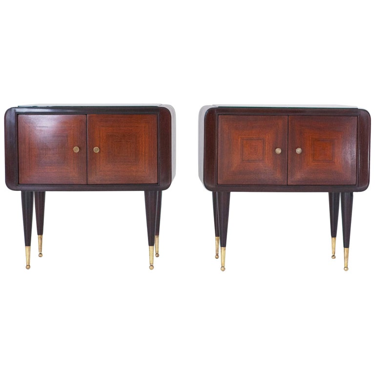 Italian Side Tables Nightstands 1950s Set Of Two Wood And Black Glass At 1stdibs