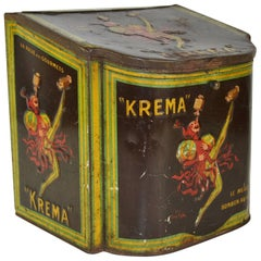 Antique French Lithografic Tin Box for Confectionary Kréma by Jean D'Ylen