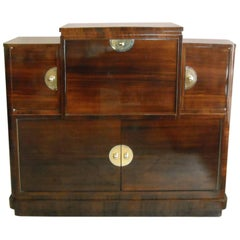 Art Deco Drinking Cabinet Rose Wood Chrome / Brass Handles