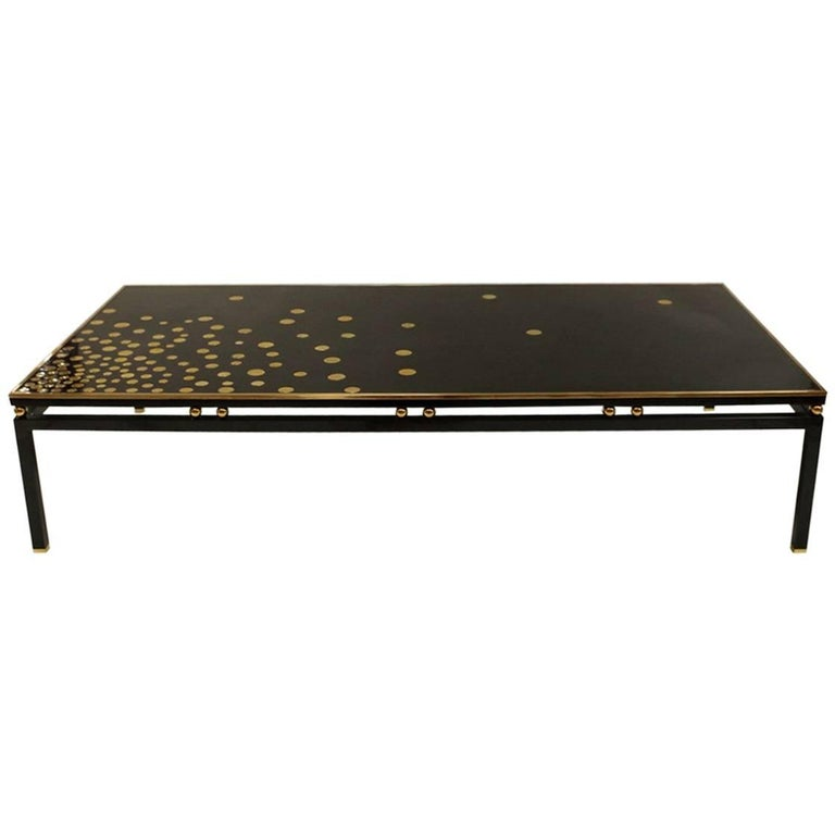Large Black Lacquer Coffee Table With Gilt Brass For Sale At 1stdibs