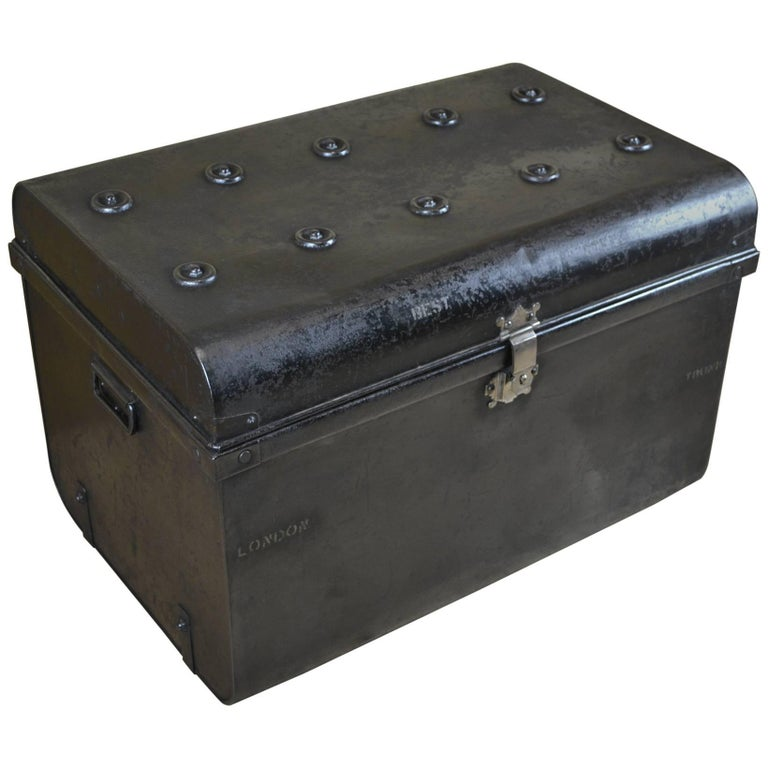 Early 20th Century Metal Travel Trunk