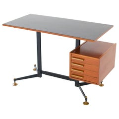 Italian Mid-Century Modern Desk Table Chest of Drawers Iron Teak Formica, 1950s
