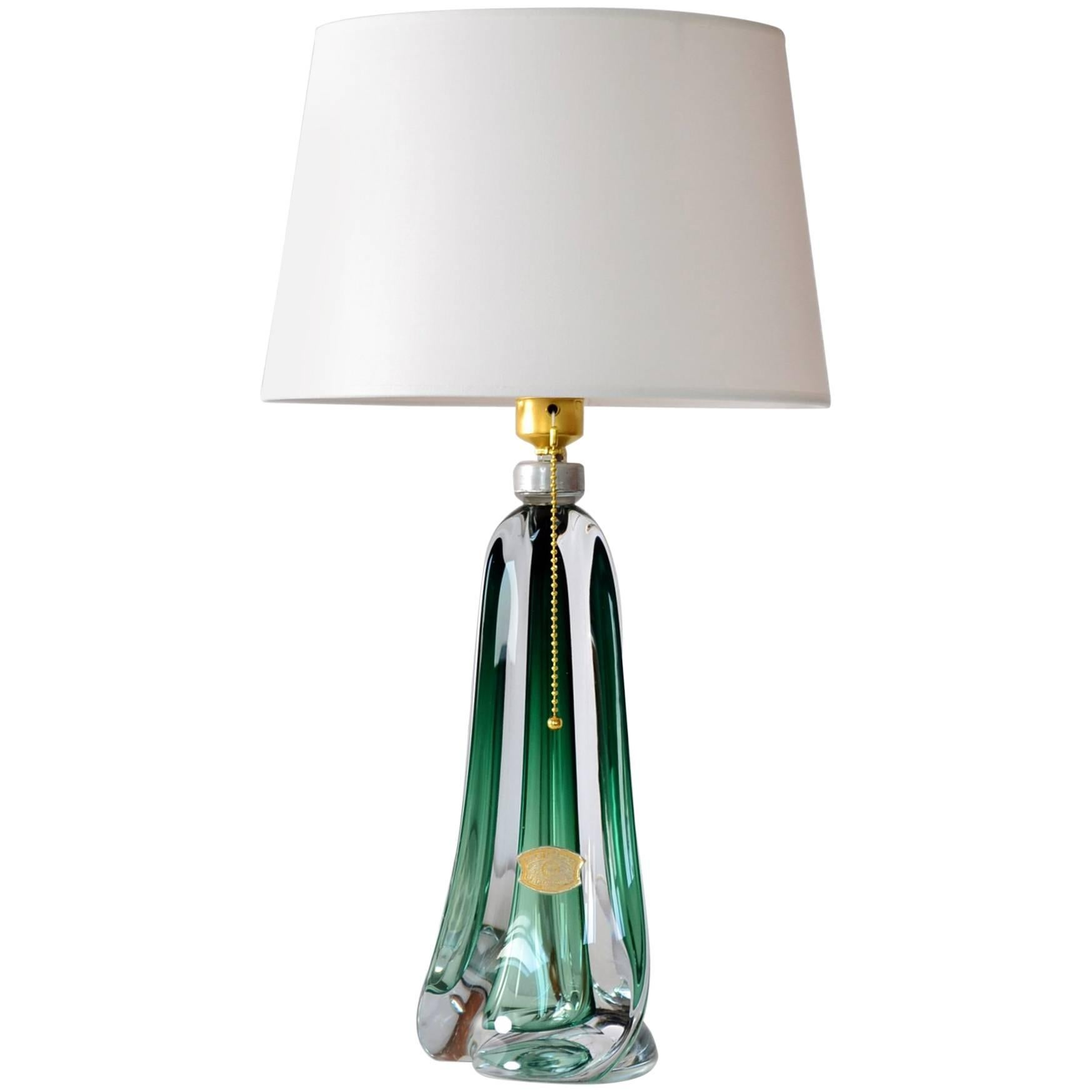 Belgian Emerald Green Glass Table Lamp Of Val St. Lambert, 1950s For Sale