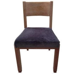 1940s French Limed Oak Chair in the Style of Pierre Chareau Re-Upholstered