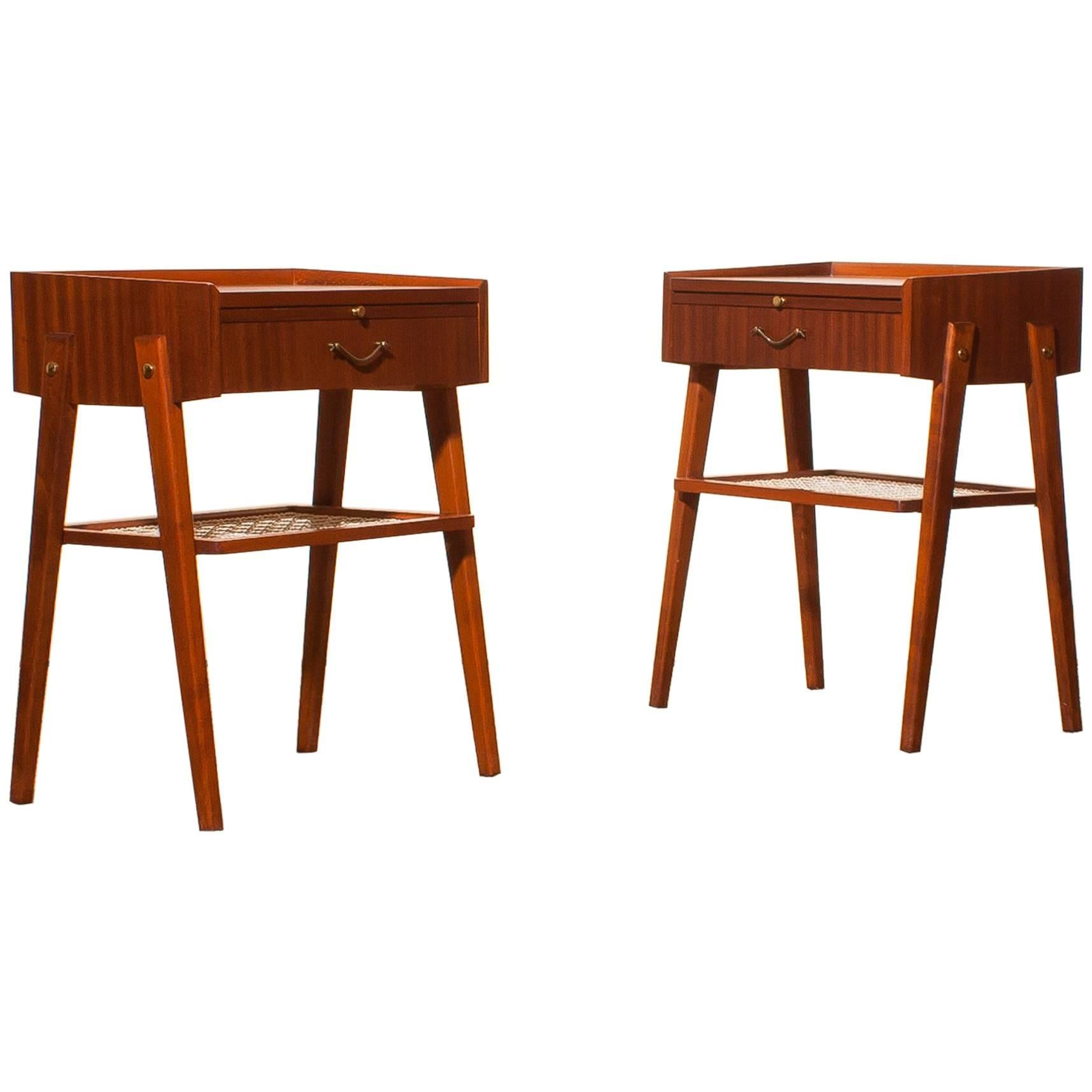 1960s Pair Of Teak And Brass Bedside Tables