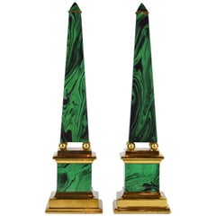 Pair of Tall Paul Hanson Midcentury Faux Malachite and Brass Obelisk Models