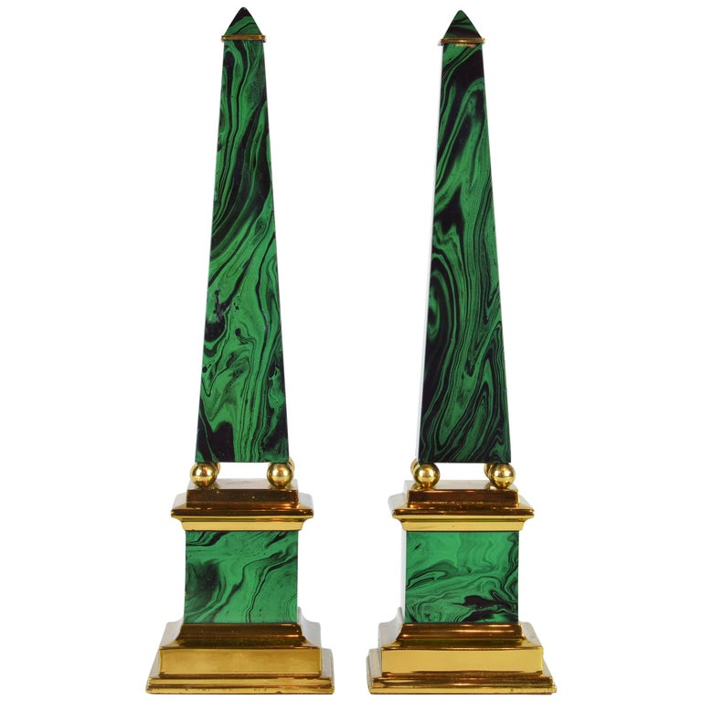 Pair of Tall Paul Hanson Midcentury Faux Malachite and Brass Obelisk Models For Sale