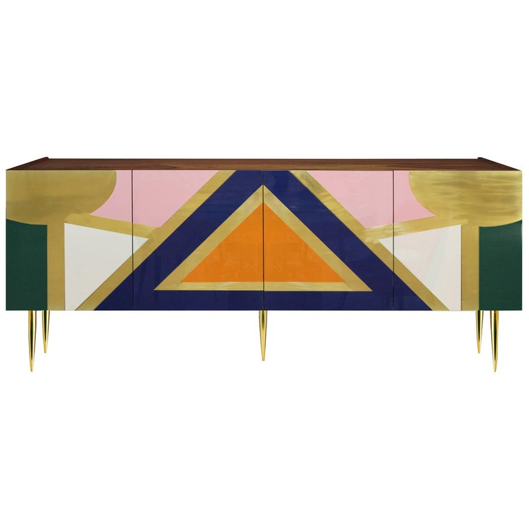 Hollywood Style High Gloss Lacquered Wood and Brass Sideboard Yucatan For Sale