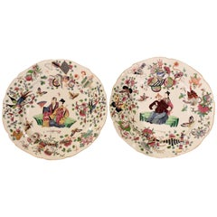 Pair of 19th Century Polychromed Bayeux Porcelain Pendant Plates