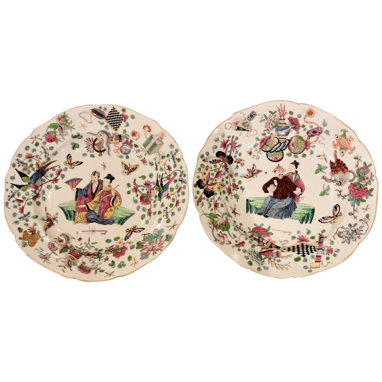 Pair of 19th Century Polychromed Bayeux Porcelain Pendant Plates For Sale