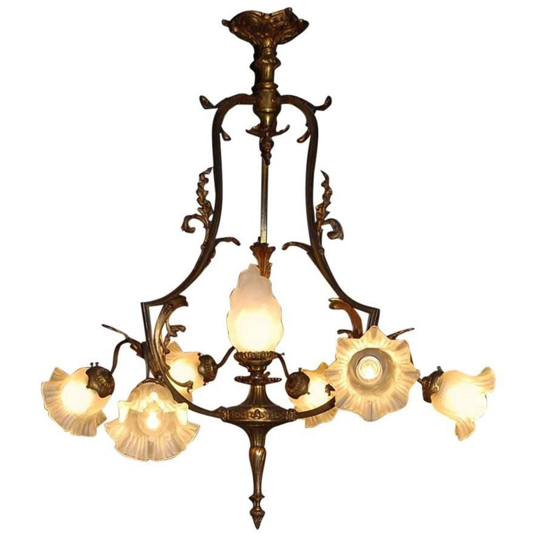20th Century Brass and Glass Chandelier