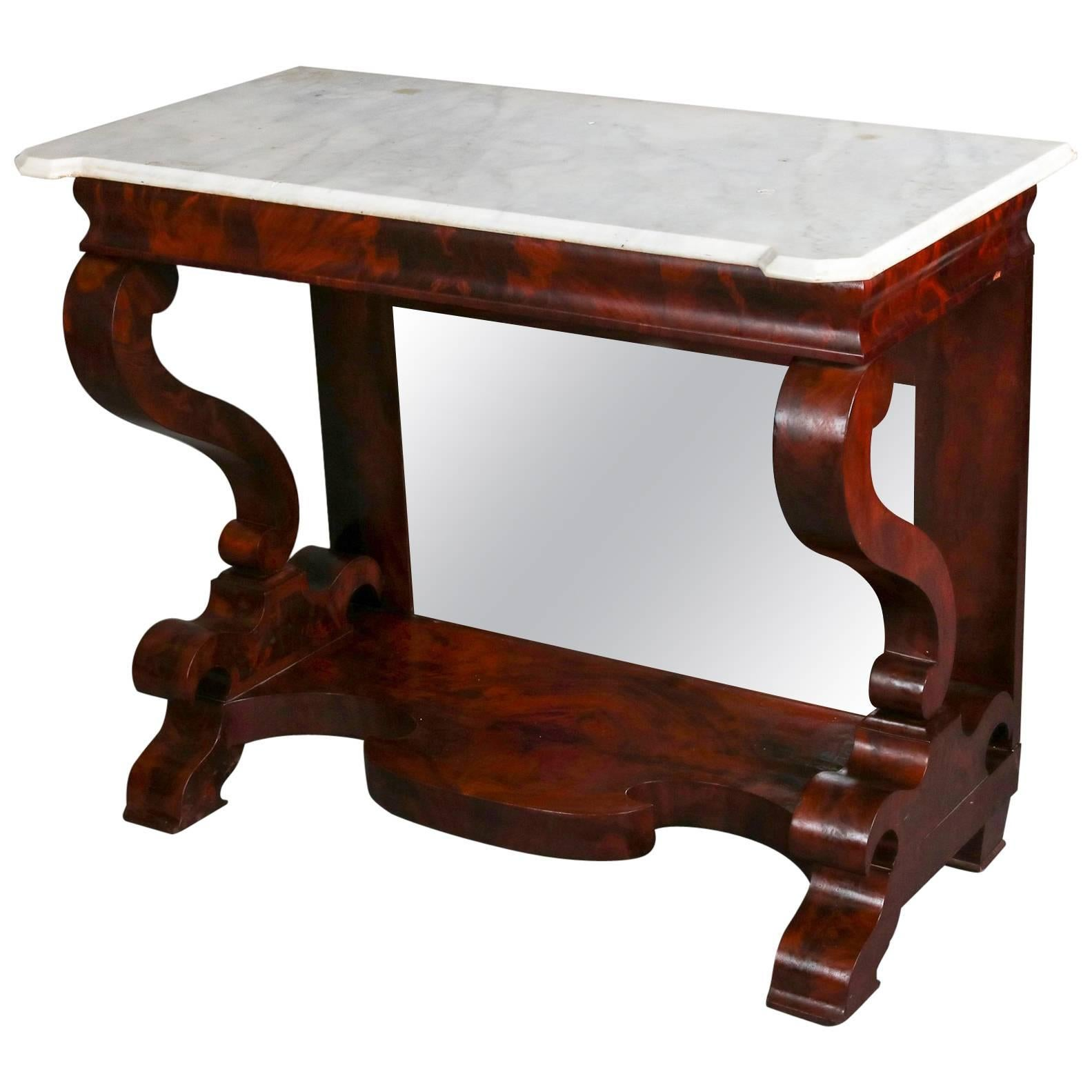 Antique Meeku0027s School Classical Empire Flame Mahogany And Marble Pier Table