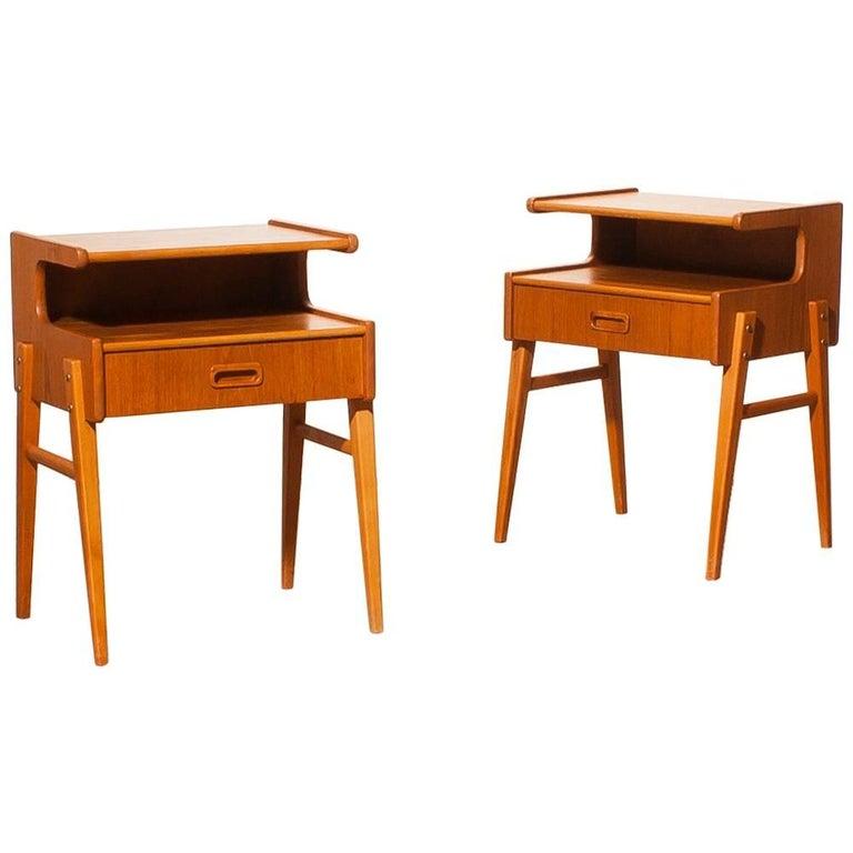 1960s Pair of Teak 'Model C' Bedside Tables 1