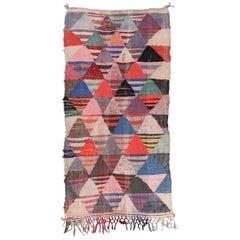 Vintage Moroccan Flat-Weave Boucheroite Rug