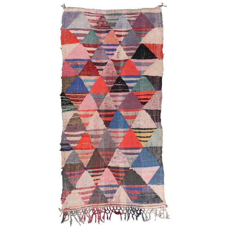 Vintage Moroccan Flat-Weave Boucheroite Rug 1