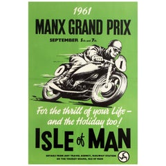 Original Vintage Manx Grand Prix Motorcycle Poster - For The Thrill of Your Life