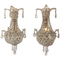 Crystal Beaded Basket with Prisms and Mirrors Sconces