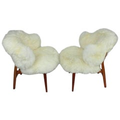 Pair of Ib Kofod-Larsen Shell Chairs Dressed in Swedish Long Haired Sheepskin